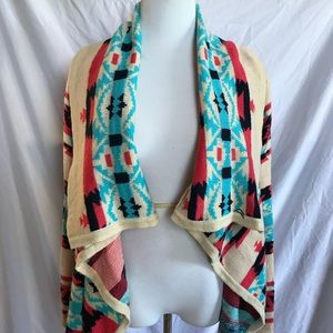 Moon Collection Aztec Blanket Sweater Cardigan